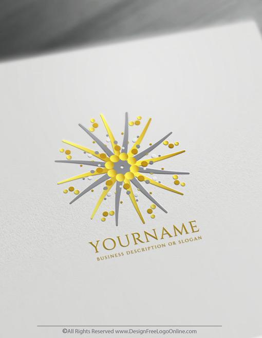 Golden Abstract Sun Logo Maker