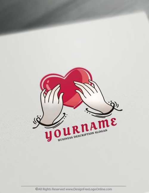 Create Hand Drawn Logo with Hands holding a heart Logo Template