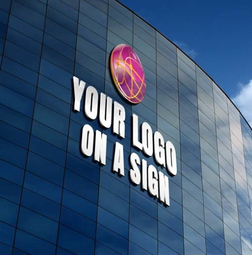 3D Logo in a Branded Sign Simulation