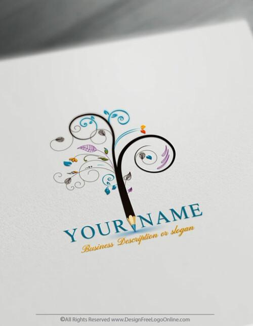 Create an Artistic Pencil TreeLogo Online