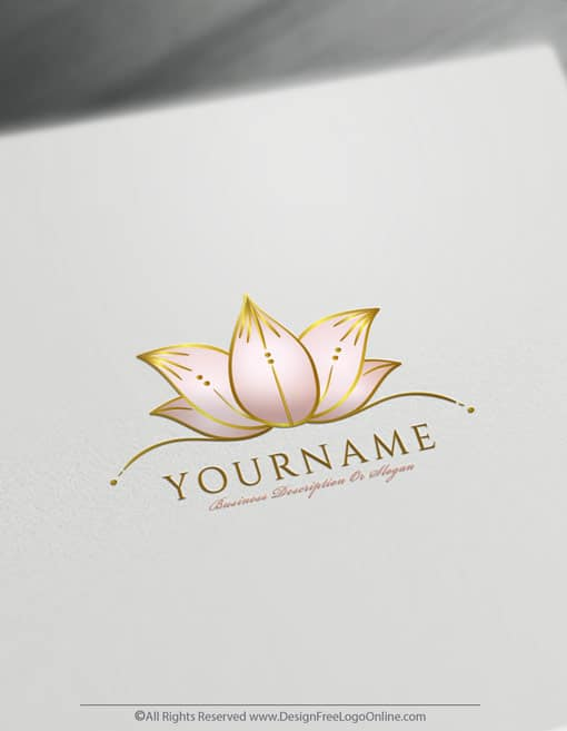 Create Flower Logo For Free – Hand-Drawn Lotus Logo Template
