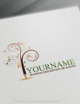 Create a Logo Free - Create Pencil Tree Logo Design