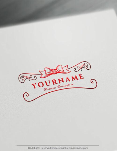 Hand Drawn Red ribbon Gift logo