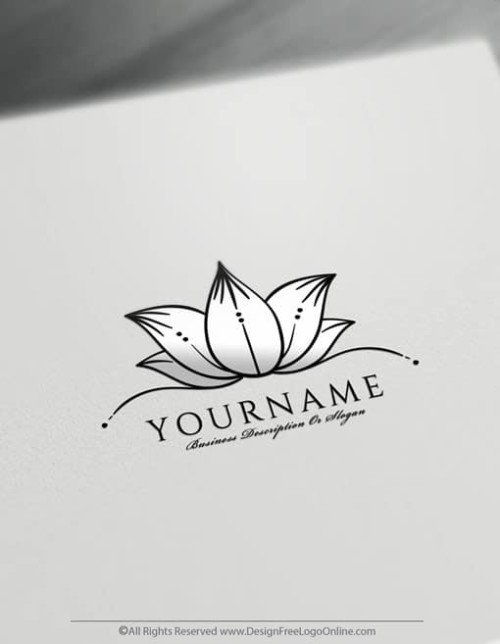Create Flower Logo For Free – Hand-Drawn Lotus Logo Template