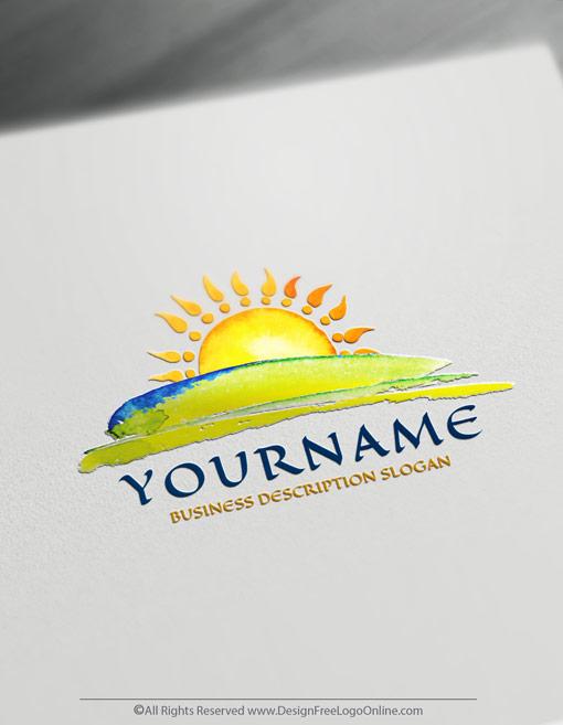 Create A Sunset Logo Free Watercolors Landscape Logo Design