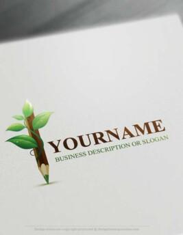 Create a Logo Online Free Logo Maker - Green Pencil Logo. Customize This art pen logo with our free logo maker tool.