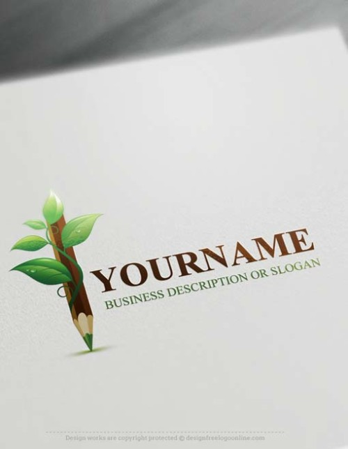 Create a Logo Online Free Logo Maker - Green Pencil Logo. Customize This art pen logo with our free logo maker tool.