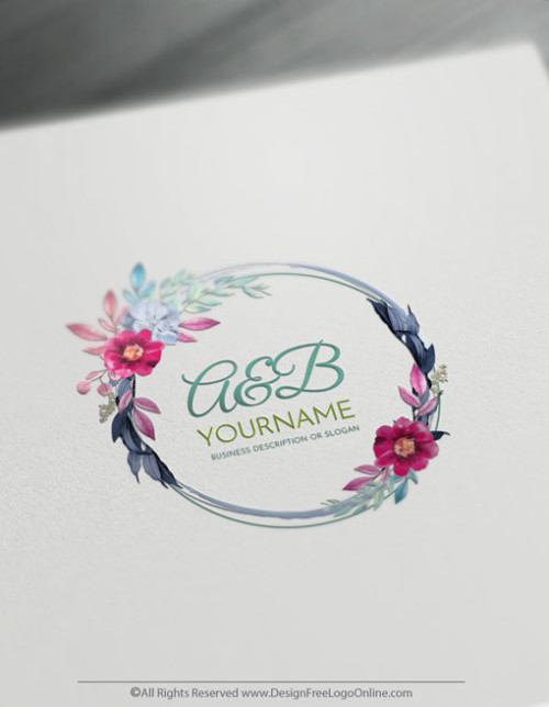 Design your own flowers logo ideas with online Vintage Logo Maker.