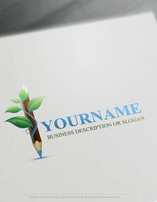 Free-logo-maker-green-Pencil-Logo