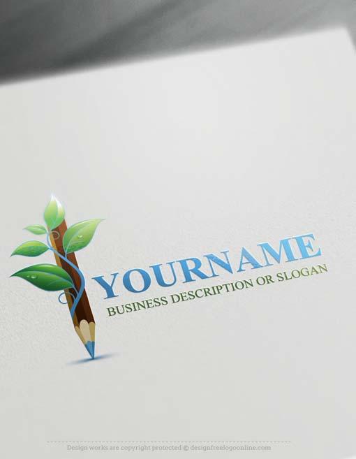 Free-logo-maker-green-Pencil-Logo
