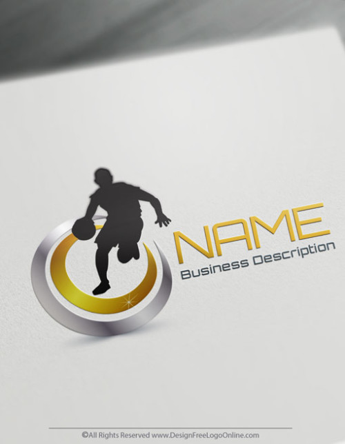 Free sports logo maker - gold Basketball logo template brand