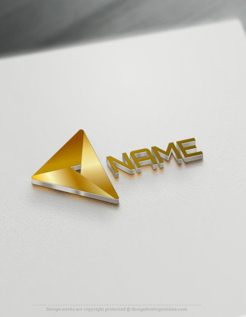 Free Geometric Logo maker - Online Gold Triangle Logo design