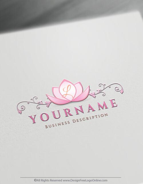 Pink Decorative Alphabet Lotus Logo Templates