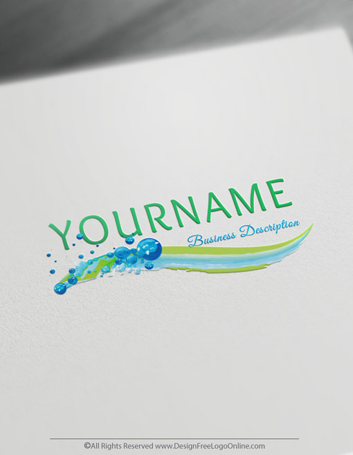 cleaning logos with green and blue wave