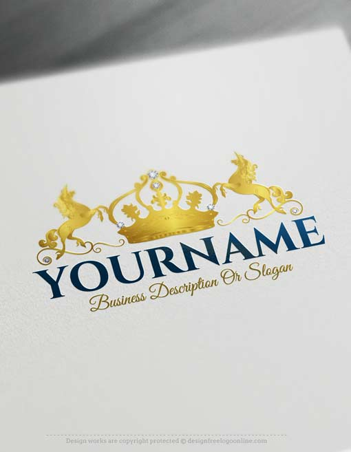 Free Logo Maker – Crown Unicorn Logo design