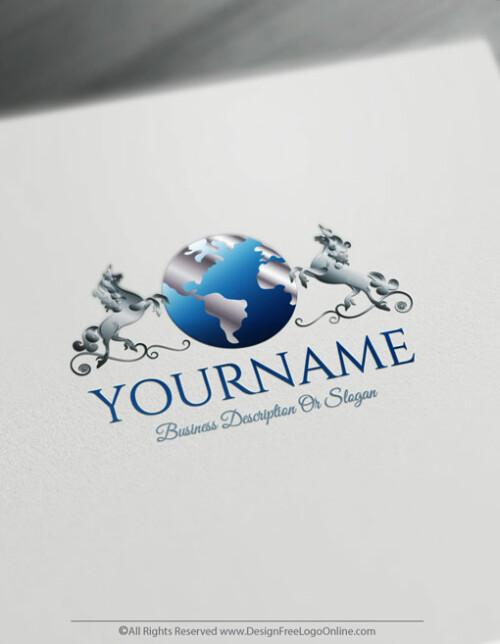 Free Letter Logo Maker - Unicorn Globe Logo Design