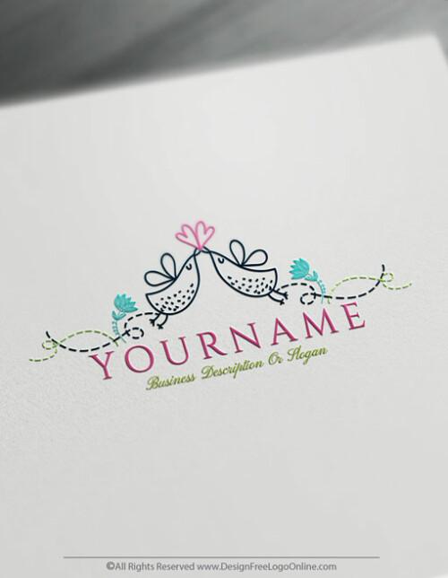 Free Vintage Logo Maker - Make your own Love Birds Logo Design