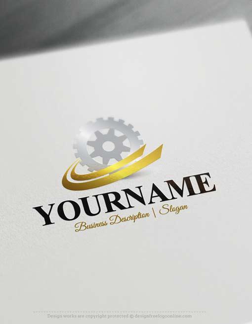 Online Free Logomaker - Gear Industrial Logo template