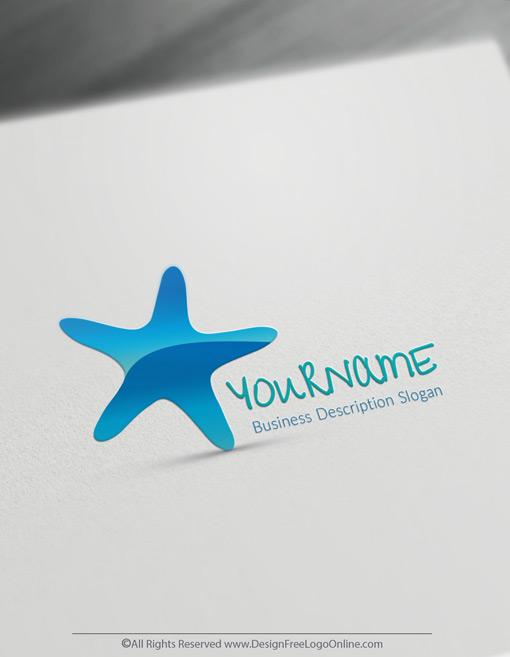 Blue Sea Starfish Logo Design