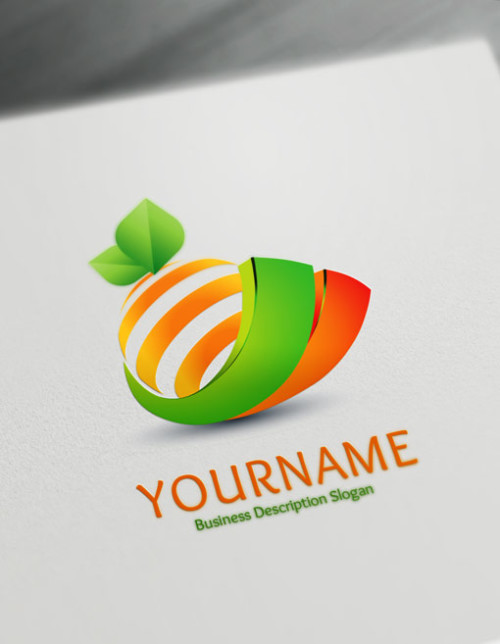 Design Free 3D Orange Online Logo Template