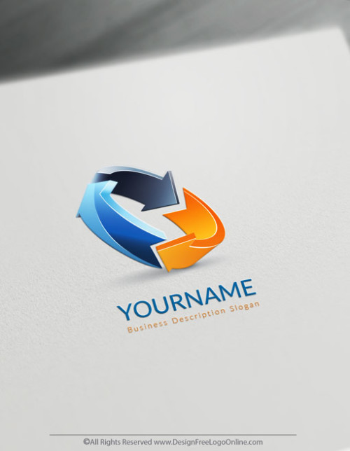 3D Colorful Arrows logo maker