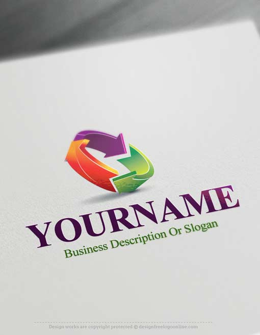 Online free logo maker 3d colorful arrows logo for Create design online