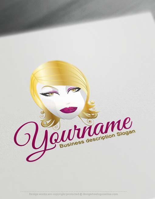 Free Logo Maker - Blonde Makeup artist Logo design