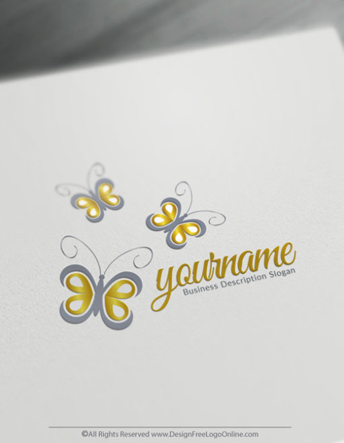 Create Your Own Gold Butterfly Logo Design Ideas using the online logo maker app