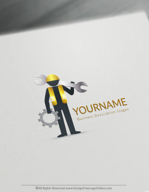 Golden handyman Logo design template