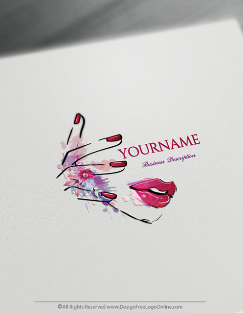 Free Beauty Nails Logo Maker - Woman Face Makeup Logo Design