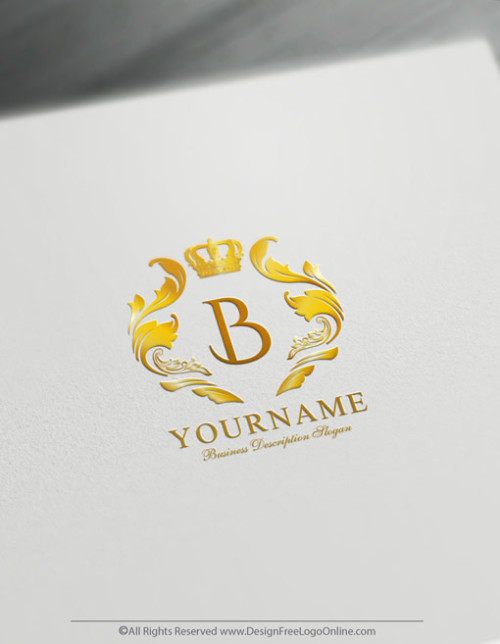 Create a Logo For Free with the Vintage Golden Crown symbol