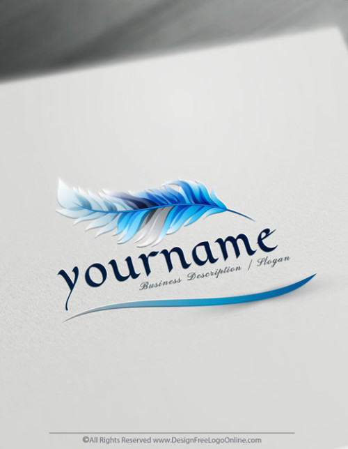 Create a blue feather pen Logo design Free with our online Quill Logo Maker.
