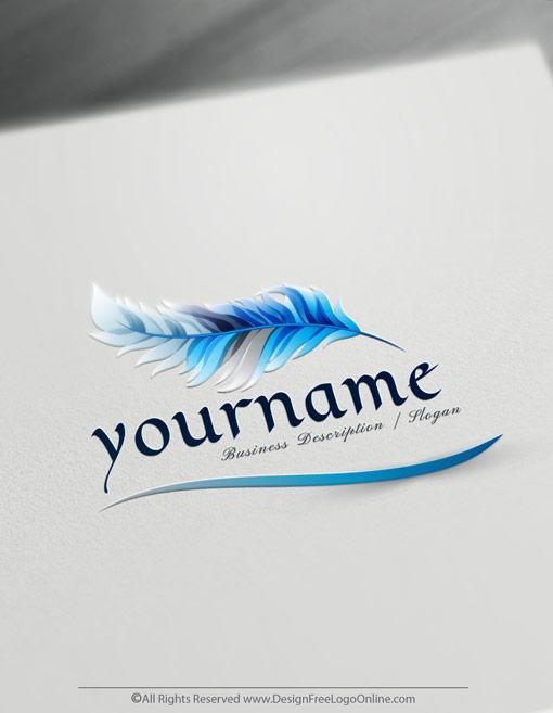 Blue Quill feather pen Logo design maker