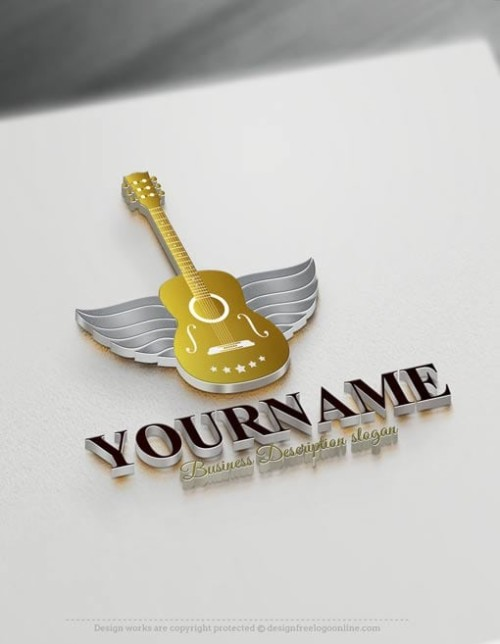 Make Guitar Logo design Online with our Free Logo Maker