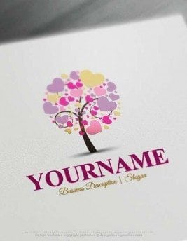 Create Hearts tree Logo design - Make a Logo Online with our Free Logo Maker