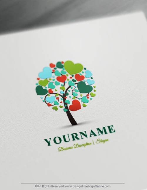 Design your own Green Hearts tree Logo Online with Free Logo Maker
