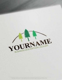 Free Logo Maker Forest tree Logo design