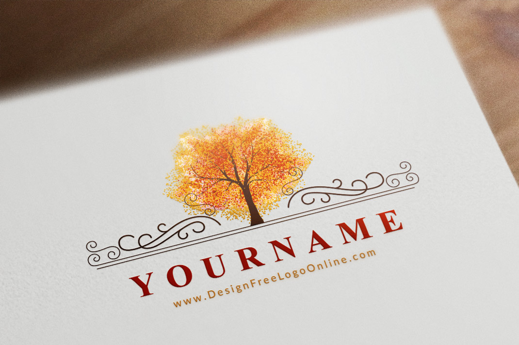 Watercolor Logos with autumn tree