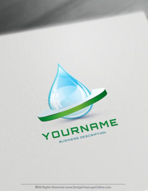 Free Logo Maker 3D Green Water drop Logo Design