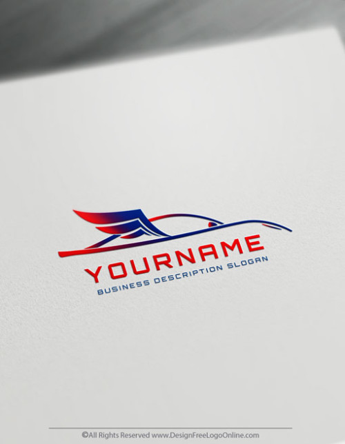 Create Car Logo For Free with the Car Logo with wings Template