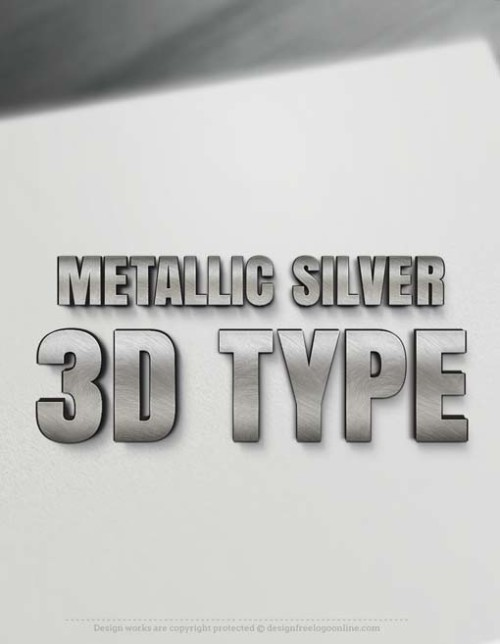 3D Letters Metallic Silver 3D Type