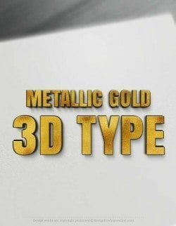 Metallic Gold 3D Type