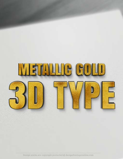 Metallic Gold 3D Type