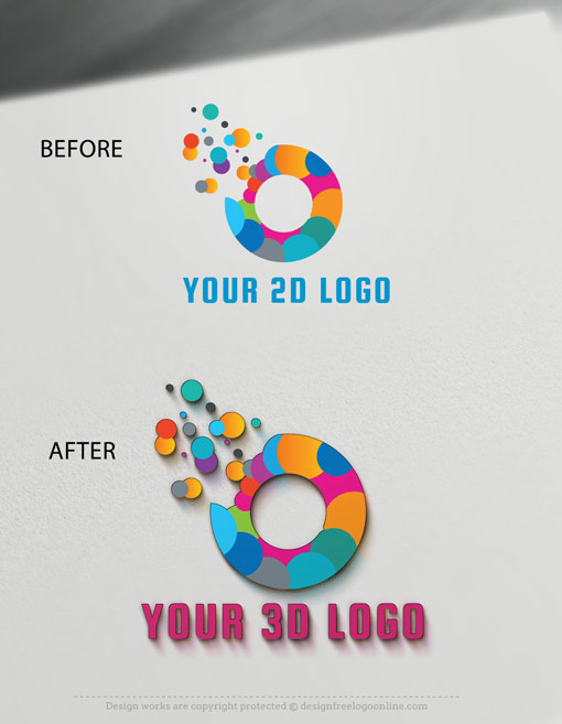 3D logo mockup display Before and after
