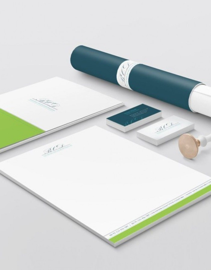 Initials logo with Branding Stationery Design