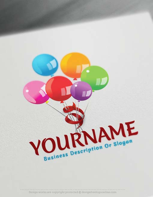 Online Free Logo Maker - Colorful Balloons Logo Design
