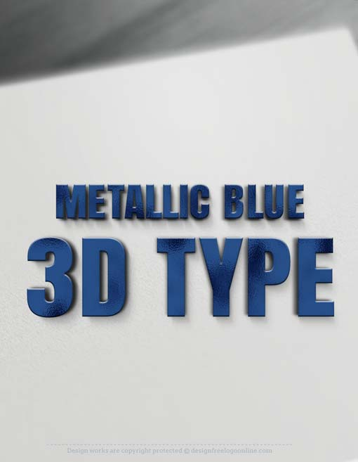Showcase your 2D company name as a Metallic Blue 3D Type, Blue 3D Letters Logo maker . Blue-3D-letters