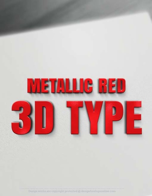 Metallic Red 3D Letters