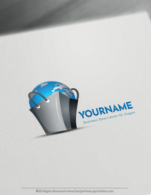 Free Shopping Bag Logo Maker - Worldwide E-commerce logo design
