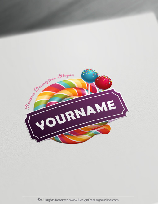 Design & download your Sweet Lollipop Candy logo with our free Logo Maker